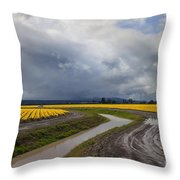 Daffodil Lane Throw Pillow by Mike  Dawson