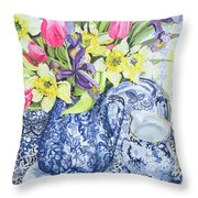 Daffodils Tulips And Irises With Blue Antique Pots  Throw Pillow by Joan Thewsey