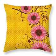 Daisies Design - S01y Throw Pillow by Variance Collections