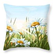 Daisies Throw Pillow by Veronica Minozzi