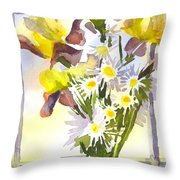 Daisies With Yellow Irises Throw Pillow by Kip DeVore
