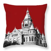 Dallas Skyline Old Red Courthouse - Dark Red Throw Pillow by DB Artist
