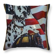 Dalmatian The Firefighters Mascot Throw Pillow by Paul Ward