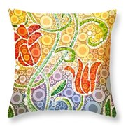 Dancing Flowers Throw Pillow by Linda Bailey