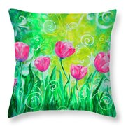 Dancing Tulips Throw Pillow by Jan Marvin