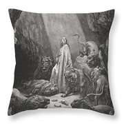 Daniel In The Den Of Lions Throw Pillow by Gustave Dore