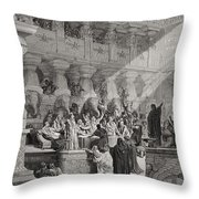 Daniel Interpreting The Writing On The Wall Throw Pillow by Gustave Dore