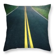 Dark Foggy Country Road Throw Pillow by Edward Fielding