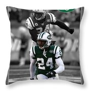 Darrelle Revis Jets Throw Pillow by Joe Hamilton
