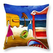 Day At The Beach Throw Pillow by William Cain