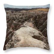 Dead End trail in Badland National Park South Dakota Throw Pillow by Adam Long