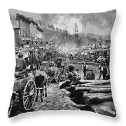 Deadwood South Dakota C. 1876 Throw Pillow by Daniel Hagerman