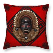 Dean Gle Mask By Dan People Of The Ivory Coast And Liberia On Red Leather Throw Pillow by Serge Averbukh
