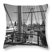 Deck Of Balclutha 3 Masted Schooner - San Francisco Throw Pillow by Daniel Hagerman