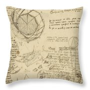 Decomposition Of Circle Into Bisangles From Atlantic Codex Throw Pillow by Leonardo Da Vinci