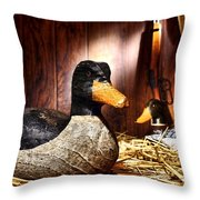 Decoy In Old Hunting Barn Throw Pillow by Olivier Le Queinec