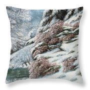 Deer In A Snowy Landscape Throw Pillow by Gustave Courbet