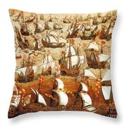Defeat Of The Spanish Armada 1588 Throw Pillow by Photo Researchers