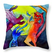 Demon Cats Dance By The Light Of The Moon Throw Pillow by Beverley Harper Tinsley