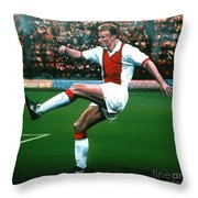 Dennis Bergkamp Ajax Throw Pillow by Paul  Meijering