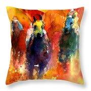 Derby Horse Race Racing Throw Pillow by Svetlana Novikova