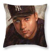 Derek Jeter Throw Pillow by Viola El