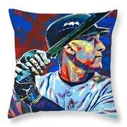 Derek Jeter Throw Pillow by Maria Arango