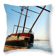 Derelict Faux Tall Ship Throw Pillow by Trever Miller