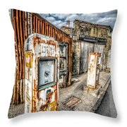Derelict Gas Station Throw Pillow by Adrian Evans