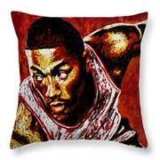 Derrick Rose Throw Pillow by Maria Arango