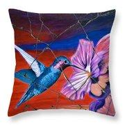 Desert Hummingbird - Study No. 1 Throw Pillow by Steve Bogdanoff