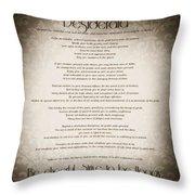 Desiderata - Vintage Sepia Throw Pillow by Marianna Mills