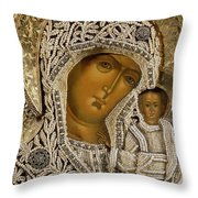 Detail Of An Icon Showing The Virgin Of Kazan By Yegor Petrov Throw Pillow by Russian School