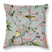 Detail of the 18th century wallpaper in the drawing room photograph Throw Pillow by John Bethell