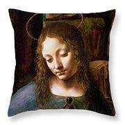 Detail Of The Head Of The Virgin Throw Pillow by Leonardo Da Vinci