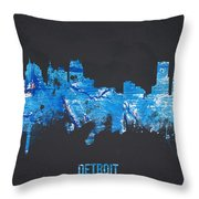 Detroit Michigan Usa Throw Pillow by Aged Pixel