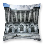 Detroit's Abandoned Michigan Central Train Station Depot Throw Pillow by Gordon Dean II