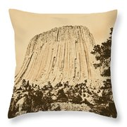 Devils Tower National Monument Between Trees Wyoming Usa Rustic Throw Pillow by Shawn O'Brien