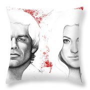 Dexter and Debra Morgan Throw Pillow by Olga Shvartsur