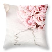 Diamond Necklace And Pink Roses Throw Pillow by Stephanie Frey