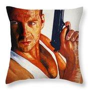 Die Hard Throw Pillow by Michael Haslam