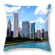 Digitial Painting Of Downtown Chicago Skyline Throw Pillow by Paul Velgos
