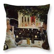 Dinner at Les Ambassadeurs Throw Pillow by  Jean Beraud