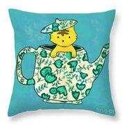 Dinnerware sets kitten in a teapot Throw Pillow by Budi Kwan