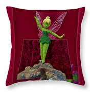Disney Floral Tinker Bell 01 Throw Pillow by Thomas Woolworth