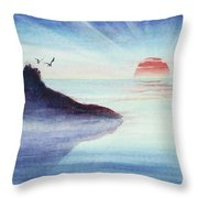 Distant Shoreline Sunrise Watercolor Painting Throw Pillow by Michelle Wiarda