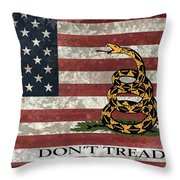 Do Not Tread On Us Flag Throw Pillow by Daniel Hagerman