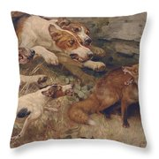 Do Your Worst Throw Pillow by Alfred William Strutt