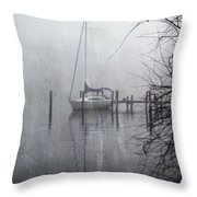 Docked In The Fog - Texture Effect Throw Pillow by Brian Wallace