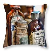 Doctor The Mercurochrome Bottle Throw Pillow by Paul Ward